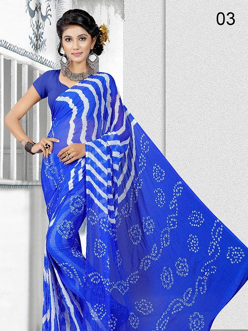03 Blue Exclusive Designer Laheriya Sarees