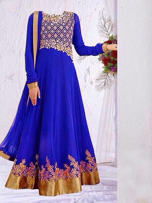 04 Royal Blue and Golden Anarkali Suit Replica