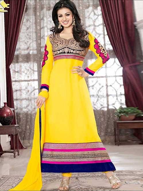1003Yellow and Multicolor Georgette Anarkali Suit