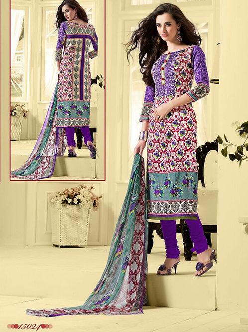 15024 Multicolor and Indigo Cotton Satin Straight Suit