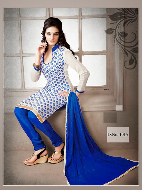 1015 White and Blue Chudidar Suit