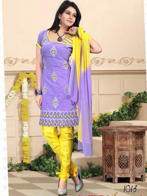 1013 Light Purple and Yellow Daily Wear Chanderi Salwar Suit