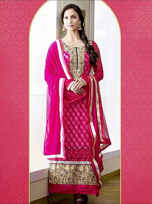 10604DeepPink and White Georgette Straight Suit