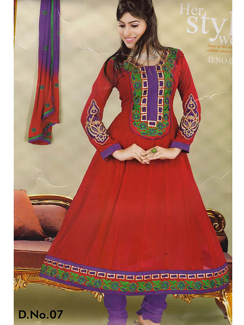 07 Firebric Red and Purple Georgette Anarkali Suit