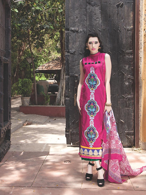 0776C Pink and Purple Cotton Jacquard Straight Suit