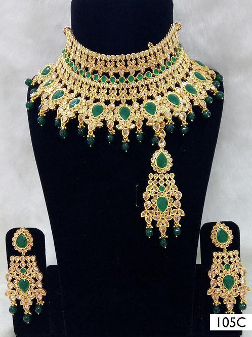 105C Green Pearl Bridal Wear Necklace Set With Maang Tika