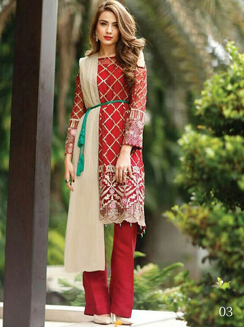 03 Red and Green Pakistani Style Suit