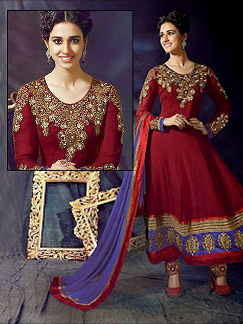 1002 Maroon Red and Blue Anarkali Suit