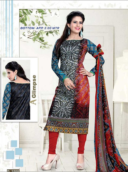 1008 Black Red and Blue Straight Suit
