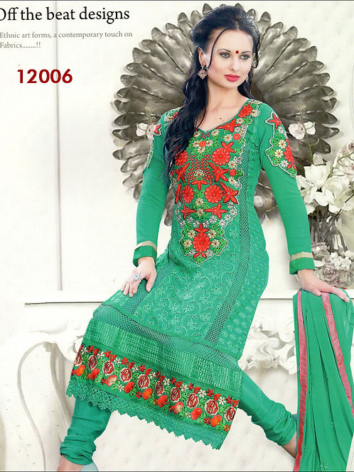 12006Red and SeaGreen Georgette Straight Suit