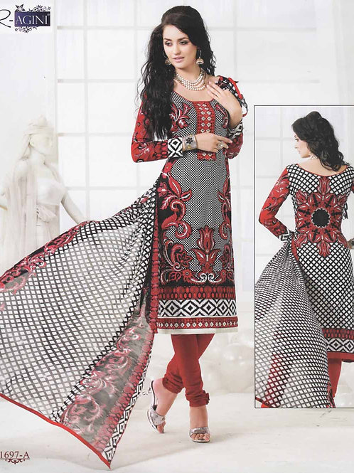 1697A Black and Red Cotton Straight Suit