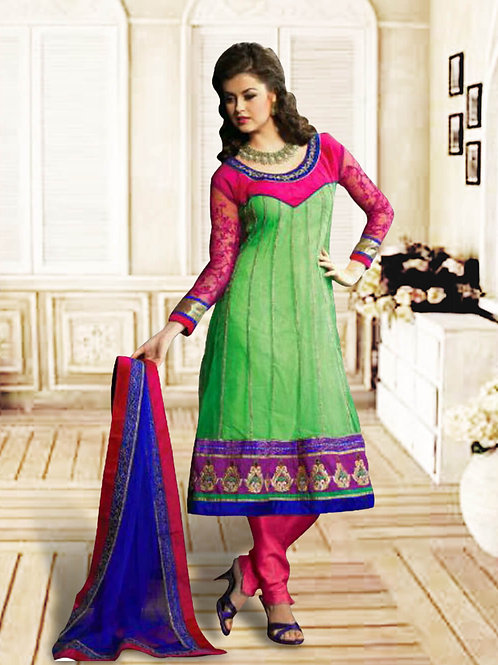 1208Light Green and Pink Anarkali Suit