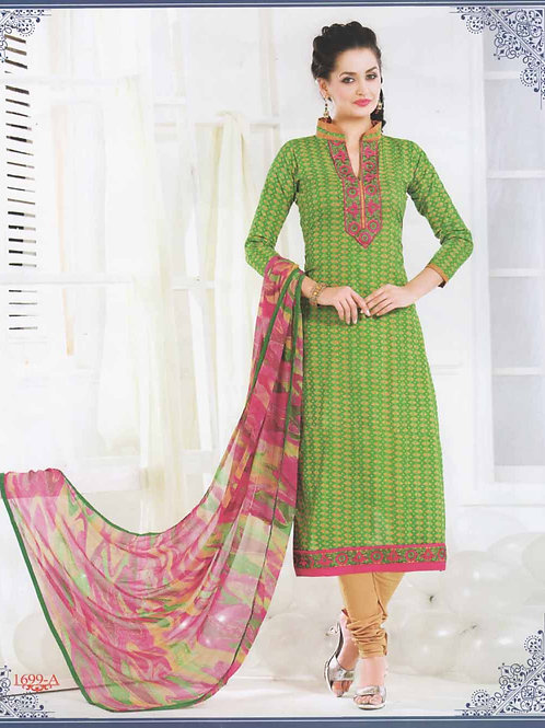 1699A Green and Orange Cotton Straight Suit