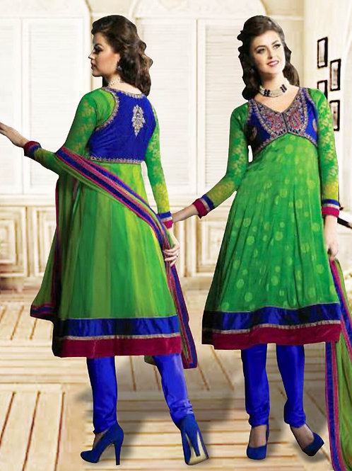 1216Green and Royal Blue Anarkali Suit