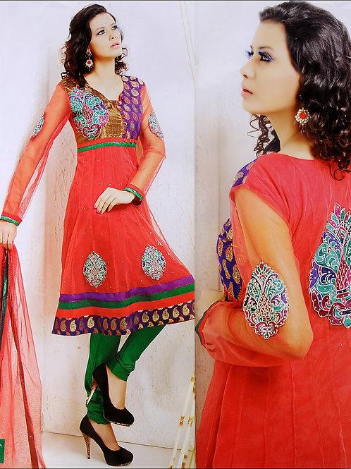 09Saffron and Green Net Anarkali Suit