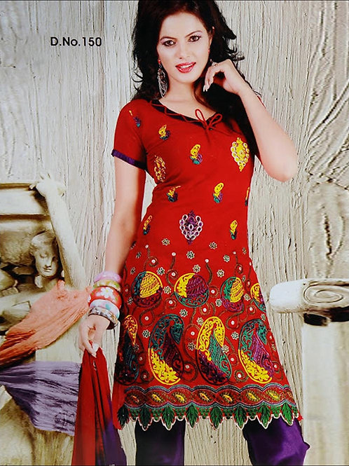 150Red and Purple Salwar Suit