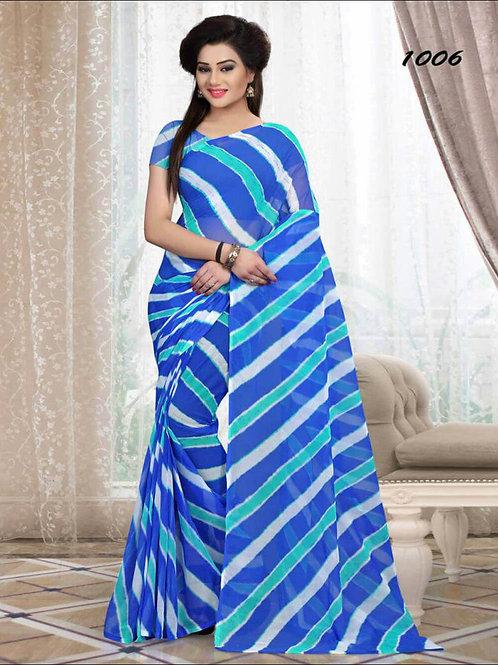 1006 Royal Blue Printed Laheriya Saree
