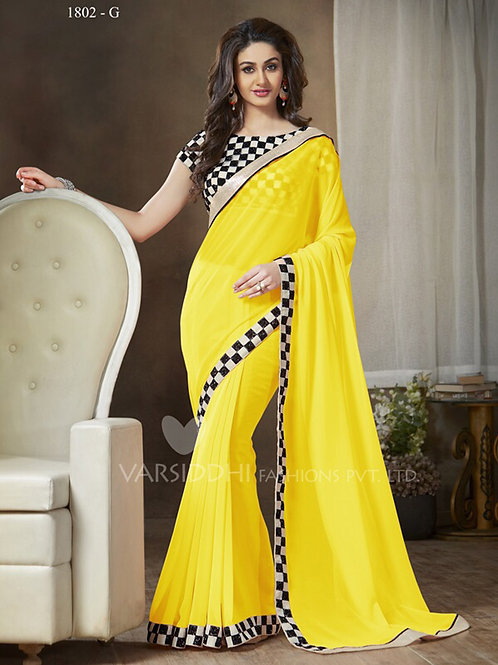1802G Yellow and Black Party Wear Georgette Saree