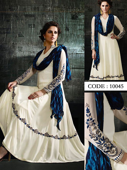 10045White Exclusive Designer Anarkali Replica Suit