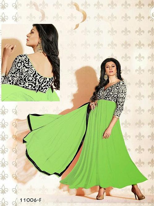 11006F Light Green and Black Anarkali Suit