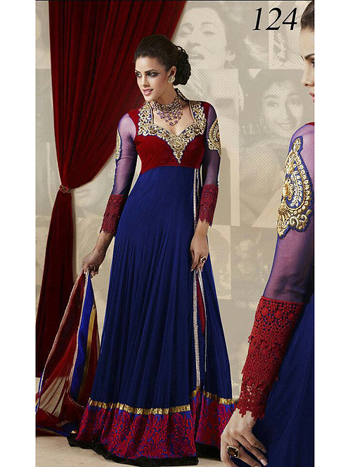 124Blue and Red Embroidered Velvet Net Party Wear Anarkali Suit