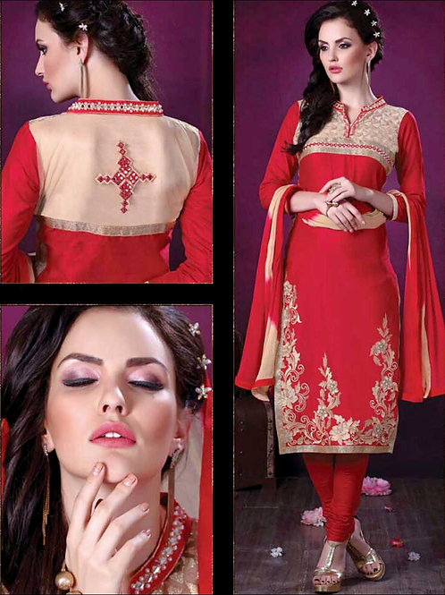 103Red Daily Wear Embroidered Satin Cotton Designer Suit