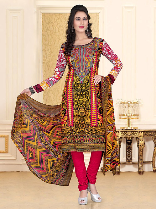 1003Yellow and Red Chudidar Suit
