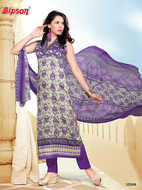 1034A White and Purple Cotton Straight Suit