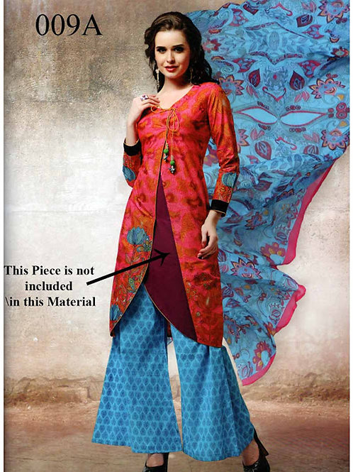 009A Red and SkyBlue Lawn Cotton Chudidar Suit