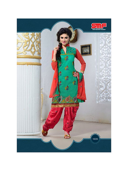 1609SeaGreen and Red Party Wear Chanderi Cotton Patiyala Suit