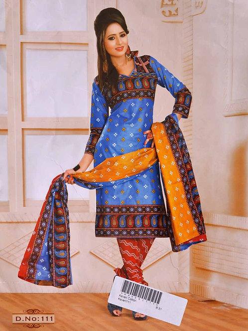 111 Blue Printed Salwar Suit