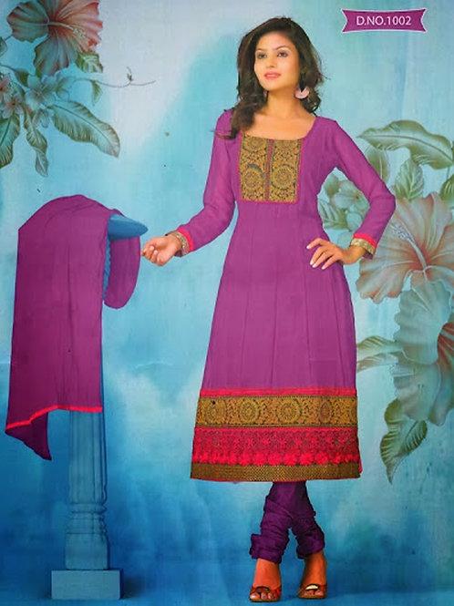 1002 Purple and Deep Pink Georgette Anarkali Suit