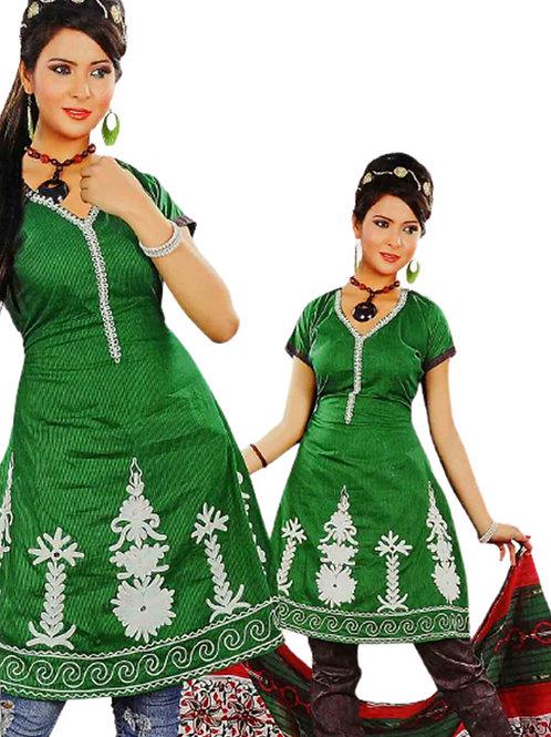 1301 Green and Dark Brown Salwar Suit