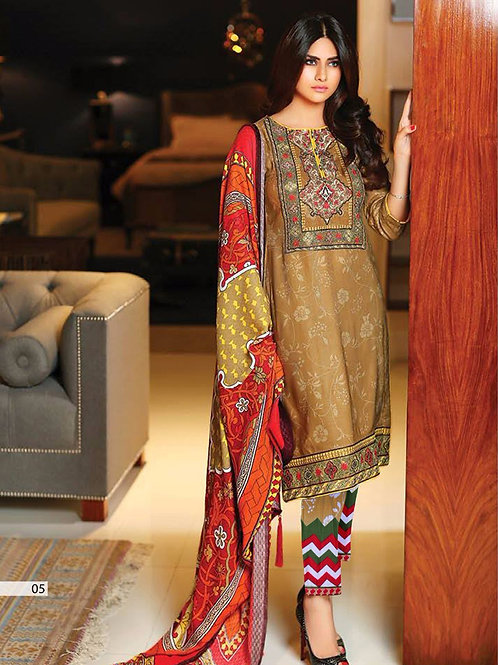 05Brown and Multicolor Embroidered Lawn Pakistani Style Indian Suit