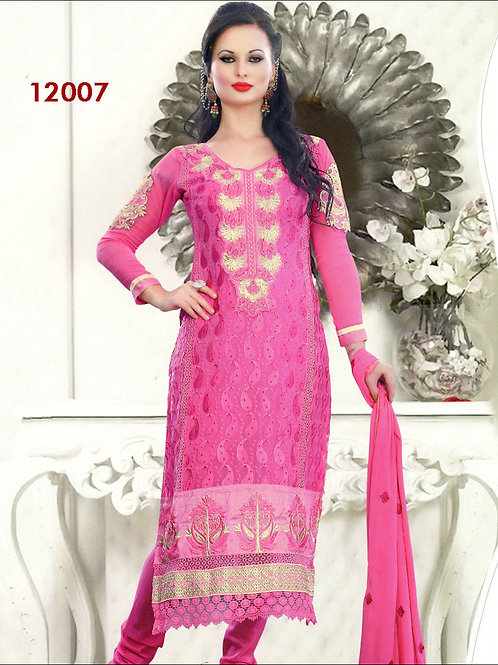 12007Magenta and Silver Georgette Straight Suit