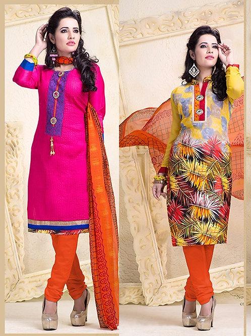 18003 Designer Magenta and Yellow Salwar Suit