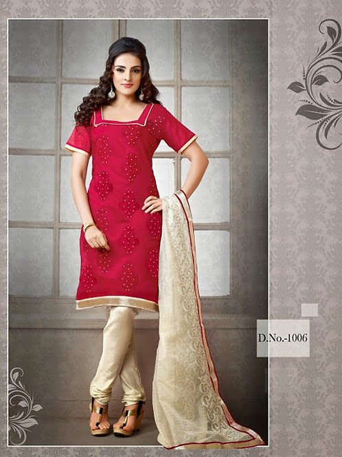 1006 Rose Pink and Ivory Chudidar Suit