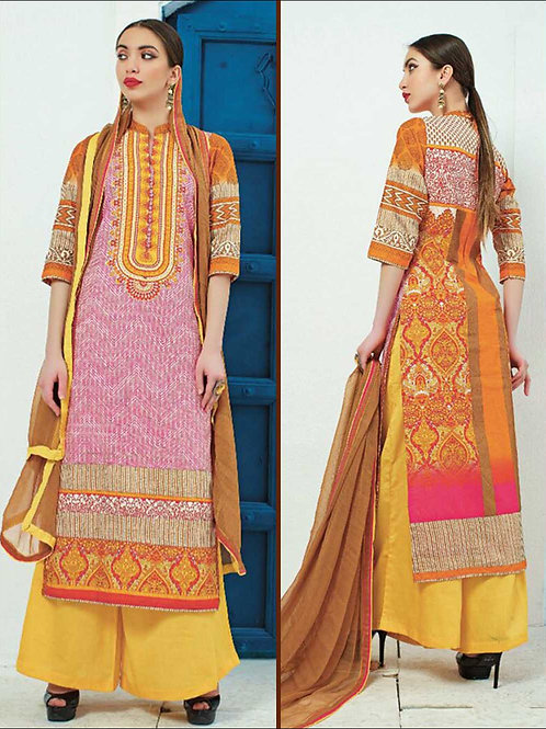 1422Yellow and Pink Party Wear Printed Cotton Satin Pakistani Suit