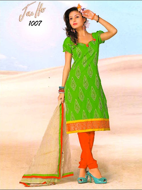 1007ParrotGreen and CarrotRed Chanderi Chudidar Suit