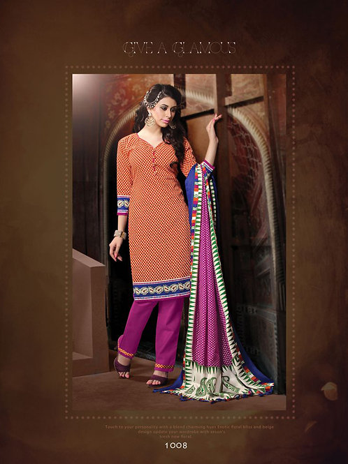 1008Red and Purple Daily Wear Heavy Banglori Printed Salwar Suit