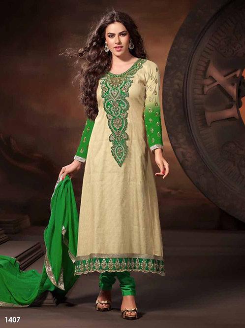 1407 Ivory and Green Designer Anarkali Suit
