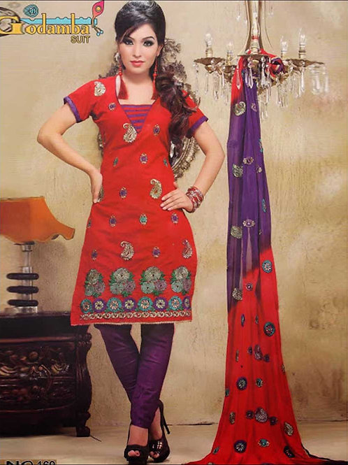 169 Red and Purple Straight Suit
