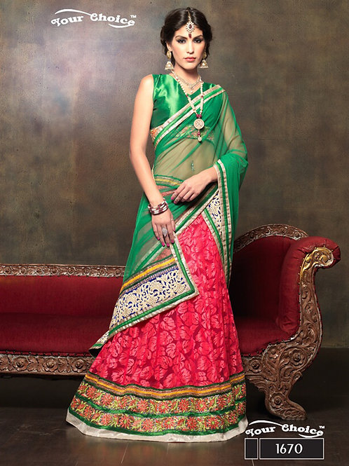 1670Green and RoseRed Net Brasso Party Wear Lehenga Choli
