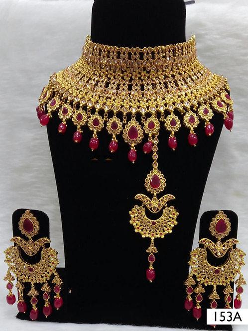 153A Maroon Pearl Bridal Wear Necklace Set With Maang Tika