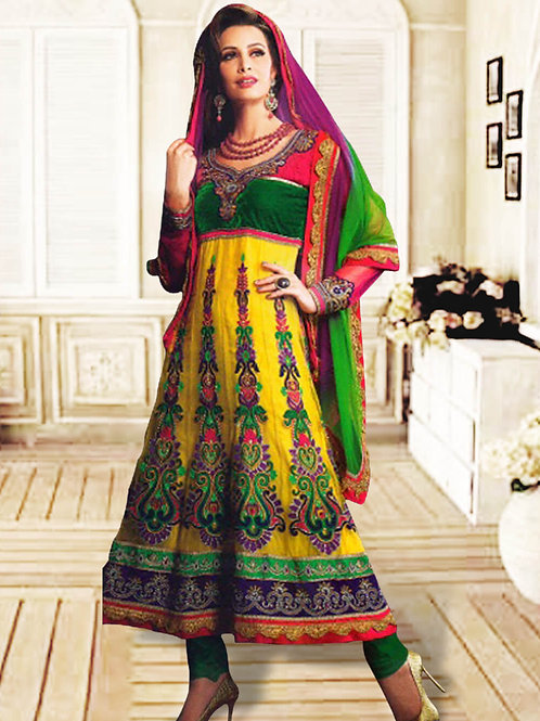 1205Yellow and Green Anarkali Suit