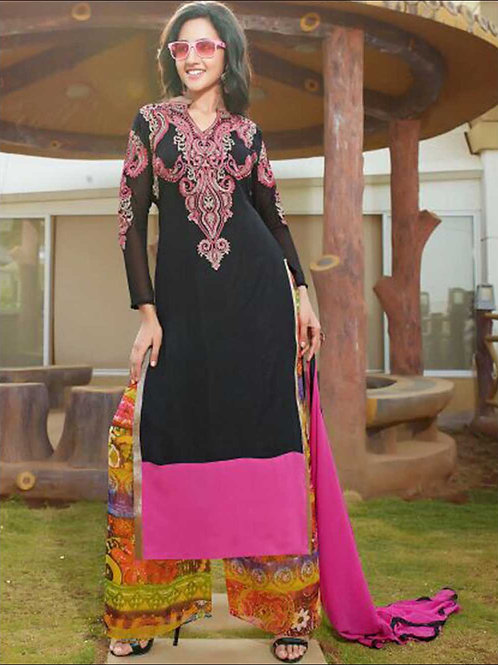 1412 Black and Pink Plazo Suit