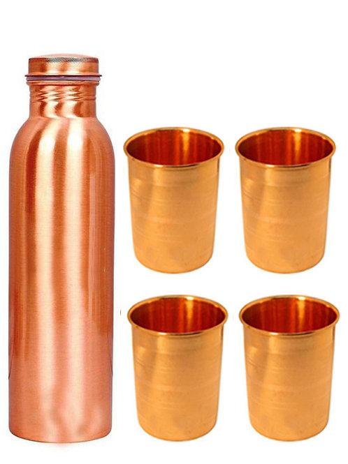 1 Plain Copper Bottle And Four Emboss Copper Glasses
