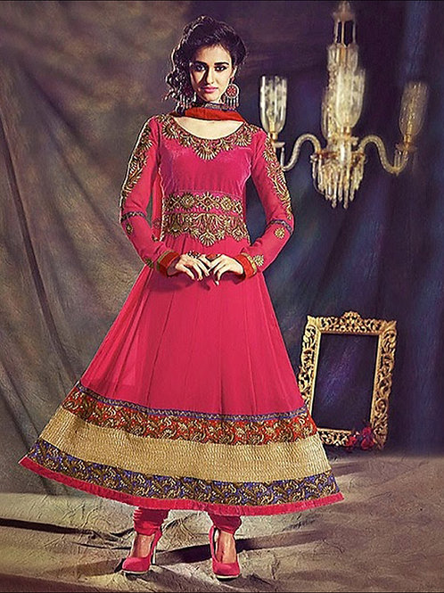 1006 magenta and Golden Anarkali Suit