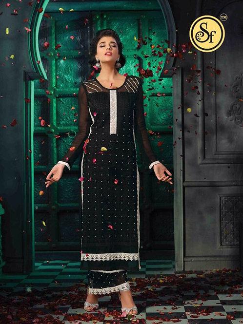 1006 Black Faux Georgette Party Wear Palazzo Suit
