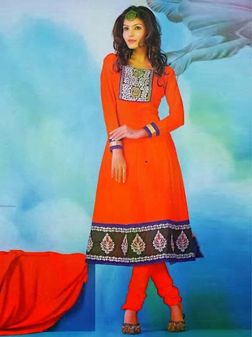 1006 Orange Red and Deep Pink Georgette Anarkali Suit